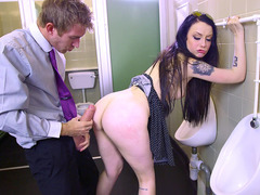 Alessa Savage bends over the urinal getting her snatch drilled
