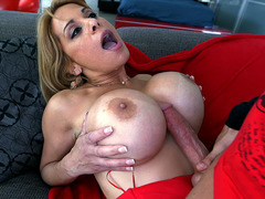 Alyssa Lynn goes wild on the studs cock as she titfucks him