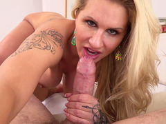Ryan Conner does a rimjob, licks balls and wraps her lips around his pole