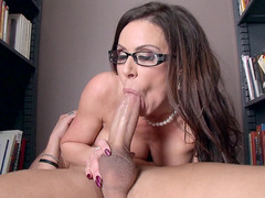 Slutty librarian Kendra Lust does an incredible blowjob