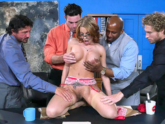 Britney Amber has to impress the board of directors to get the job