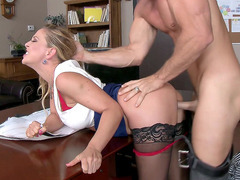 Cherie DeVille bends over to let her employee fuck her crack
