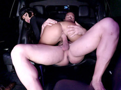 Limousine driver August Taylor rides hard cock on the backseat