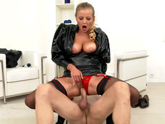 Fashionable dressed beauty Candy Alexa rides that thick shaft