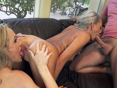 Janice Griffith deepthroats huge dick while Brandi Love licking her cunt