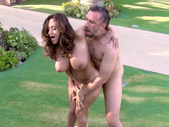 Large boobed Ava Addams having deep anal sex in the garden