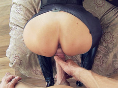 Ava Addams in a kinky cat costume takes his rod doggy style