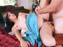 Latina Caroline Ray getting her hairy twat drilled
