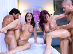 Horny housewives Chanel Preston and Monique Alexander get fucked in the spa