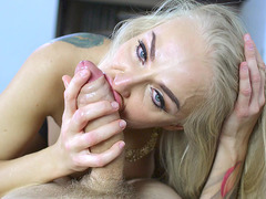 Russian mom Kayla Green slobbering all over his knob
