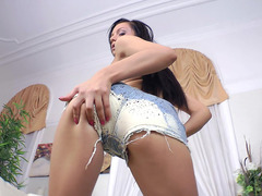 Dreamy brunette Anita Sparkle shows off her ass and tits