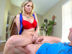 Julia Ann climbs on top and starts riding his hard wang