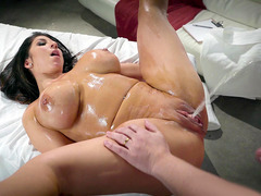 Raven Hart squirts during an oily, intense fuck