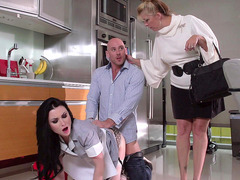 Veruca James takes Johnny's cock while scrubbing the kitchen floor