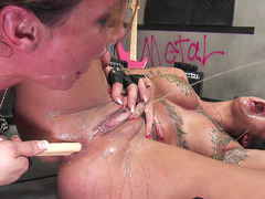 Bonnie Rotten squirting as she gets her both holes destroyed by Tory Lane