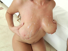 Busty ebony Cassidy Banks gets spermload on her big natural tits