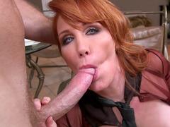 Horny mom Freya Fantasia wraps her mouth around that long shaft