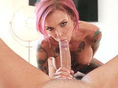 MILF Anna Bell Peaks licks balls, gives blowjob and rimjob