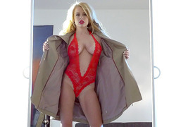 Corinna Blake posing in high heels and sexy red lingerie